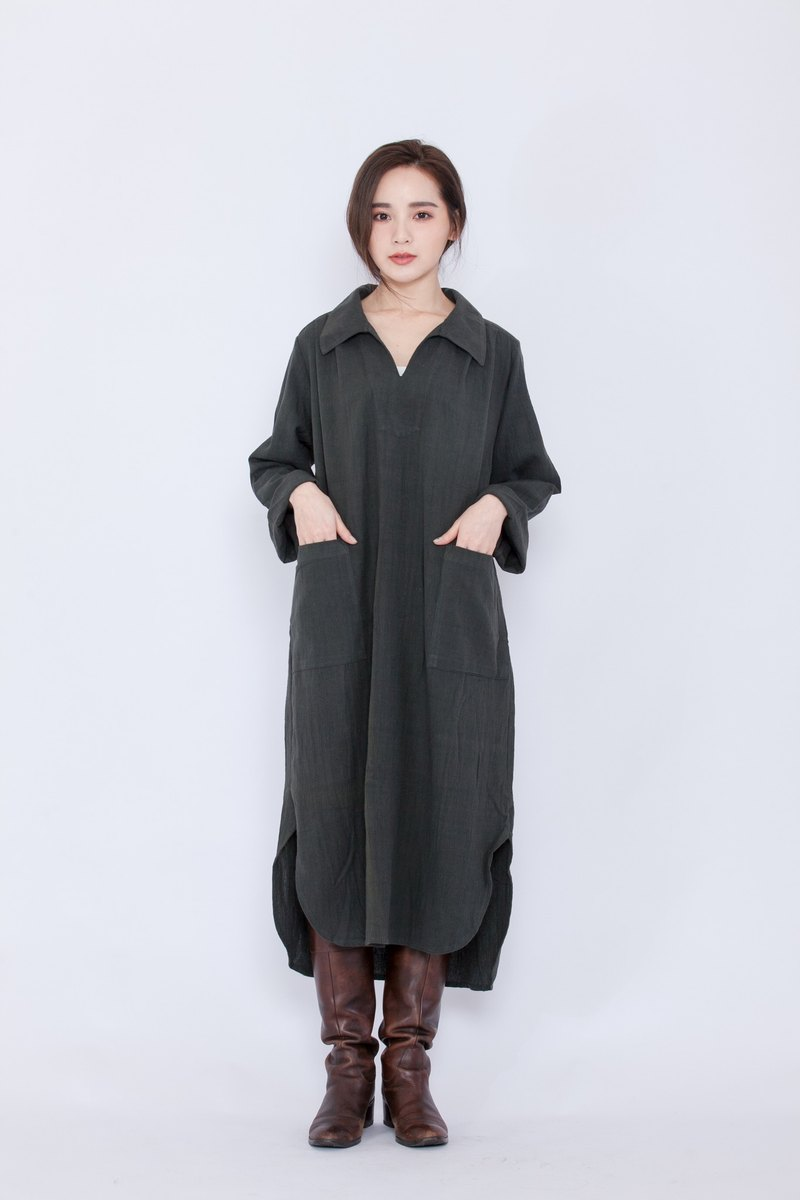 Hand-woven long shirt dress _ ink _ fair trade