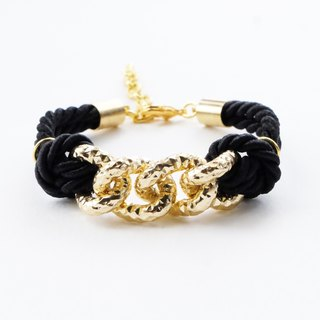 Gold chain & black cord bracelet