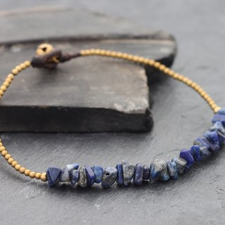 Basic Lapis Stone Minimal Anklet Brass Beaded