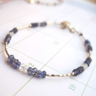 [Small Angle Series - Luminous] Moonstone x Cordierite x 925 Silver - Bracelet Design