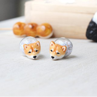 Shiba Inu Dog earrings, Double sided Earrings, Glass Ball Earrings