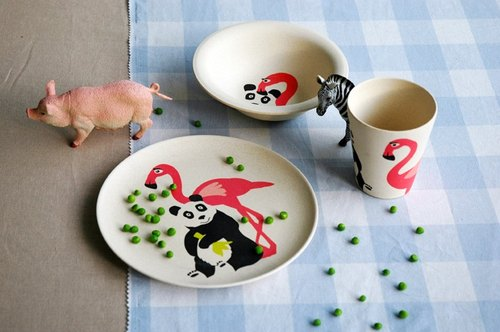 Zuperzozial - Hungry Kids Set (Cup, bowl, plate set) Hungry Flamingo set