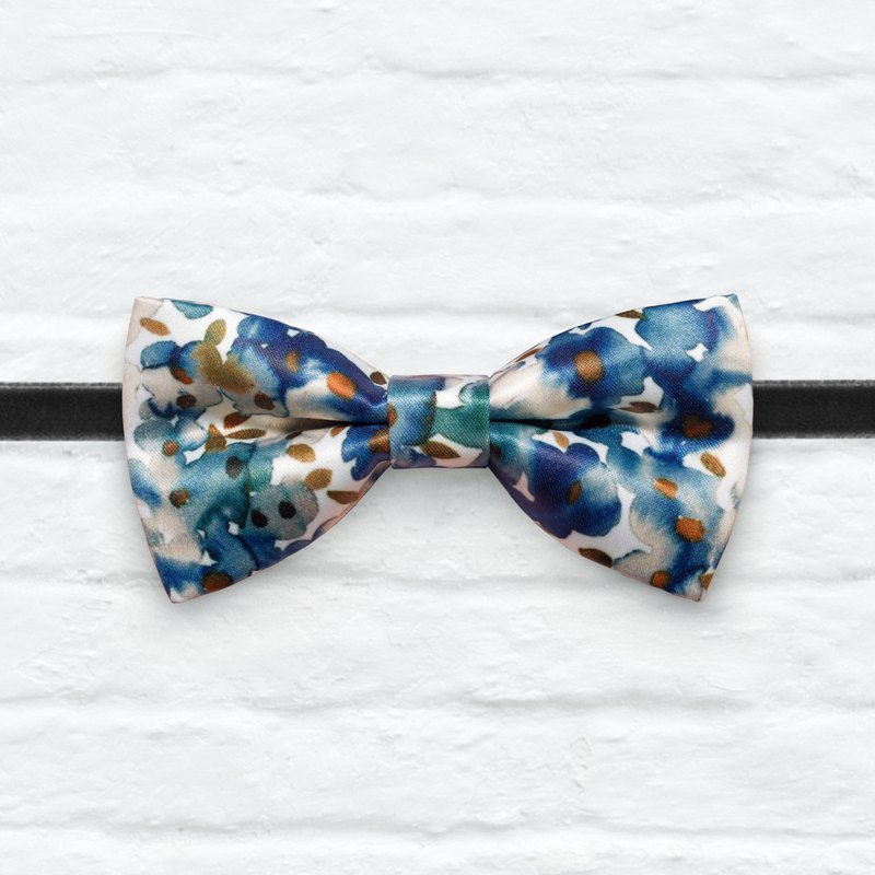 Style 0388 Blue Asters Water Color Printed Bowtie - Gift & Wedding Bowtie