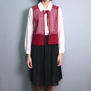 FOAK vintage red lace hook flower vest
