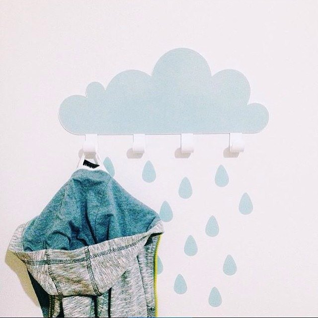 Big cloud raindrop hook + wall sticker (blue)