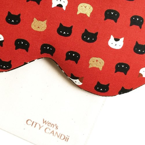 Night Cat Sleep Mask - Red (Adjustable Elastic Band)