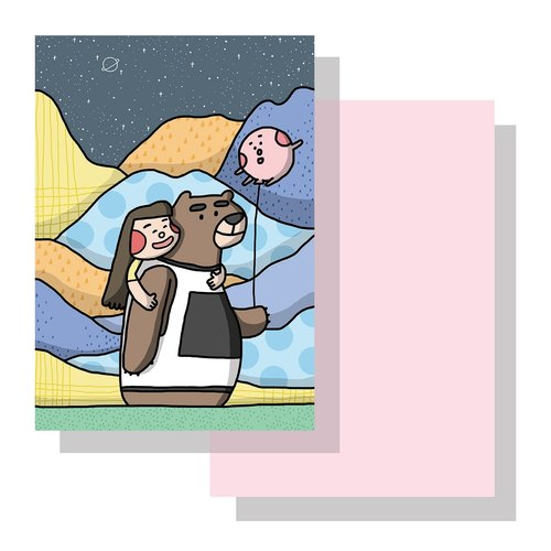 Bear balloon postcard