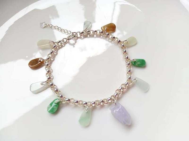 Natural Burmese jade A goods jade ~ purple peanuts colorful jade sterling silver bracelet design