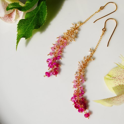 Ruby Gradation Long Earrings 14 kgfd