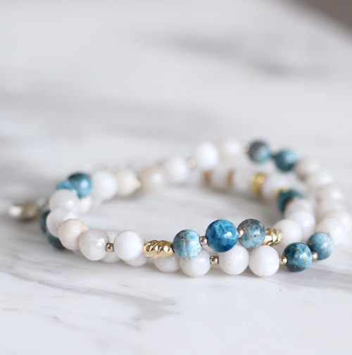 Out-of-print .. Ashefa Ashefa Natural Mineral Rosary Bracelet Sky Mystery White Onyx Calm Energy Purified 24K Gold Pure Brass Fitting Hand-Made Double-Strap Bracelet Bracelet