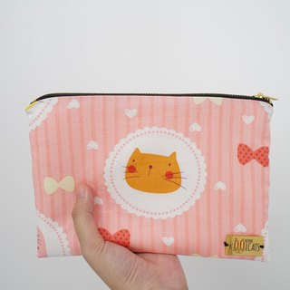 PU Leather Pouch with Orange Cat
