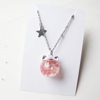 Rosy Garden cat shape with light pink crystals water inside glass ball necklace