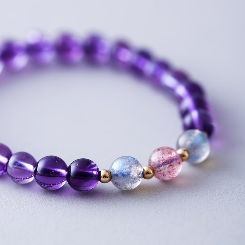 Amethyst, Rose Quartz, Labradorite 14K Gold Filled Gemstone Crystal Bracelet