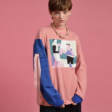 YIZISITORE autumn cotton sweater female loose version hit color long sleeve round neck pullover jacket casual bottoming shirt
