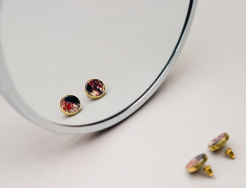 Single Stone Ear studs - Rouge - Handmade-Silver Ear Stud-Clip on-Brass