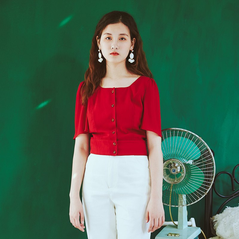 Anne Chen 2018 summer new U-neck cardigan shirt