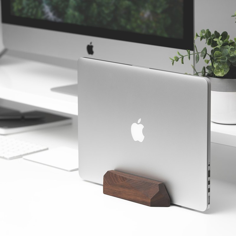 WALNUT MacBook vertical stand/ dock, Laptop wooden holder
