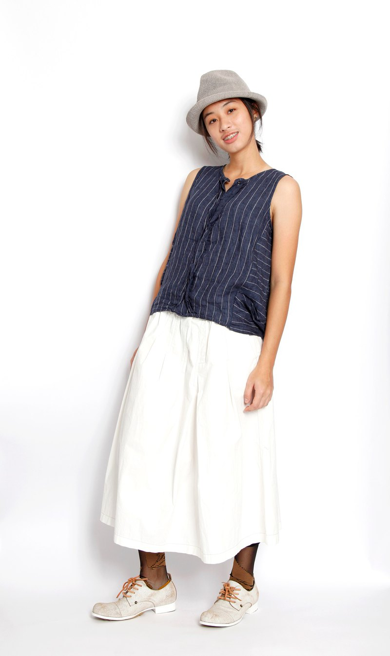 Sea _ tide double layer back open sleeveless top