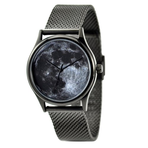 Moon Watch Black with Mesh Metal Band - Unisex - Free shipping
