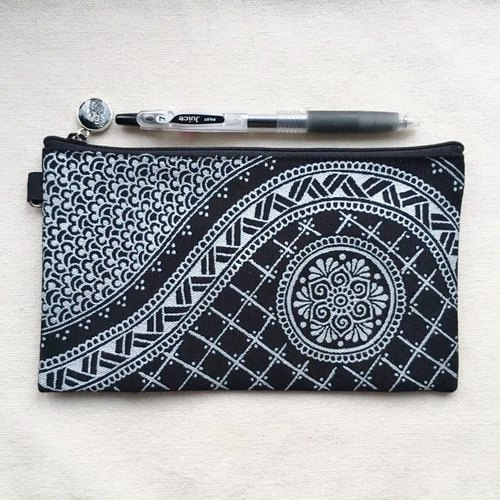 Hand Painted Henna bag Mandala bag Silver Black Pattern Zipper Pouch Coin Purse Cotton Cosmetic Bag Pencil Case Phone Wallet Hand Drawn Art