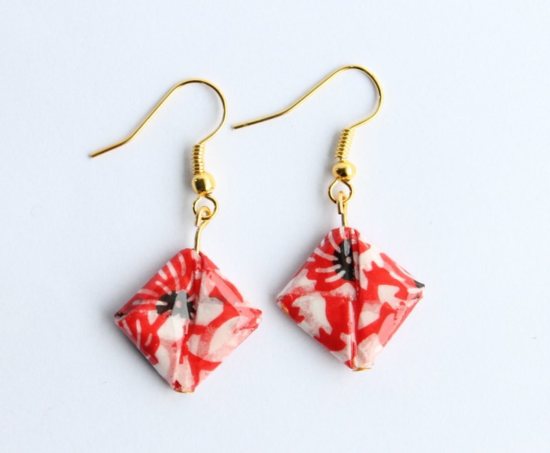 Handmade Origami Square Earrings - Red & White- Japanese Jewellery