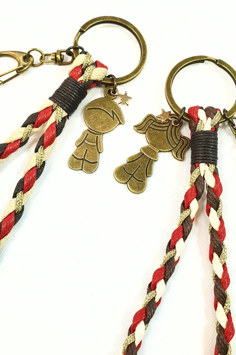 Paris*Le Bonheun. ZAKKA wax line braided key ring. Little couple