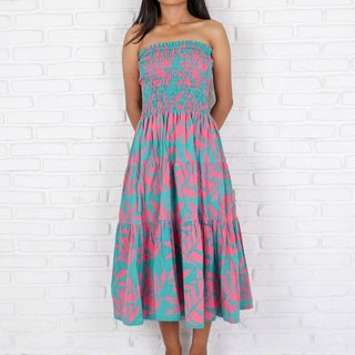 Batik Dyeing Reef Pattern Tiered Dress <Turquoise Pink>