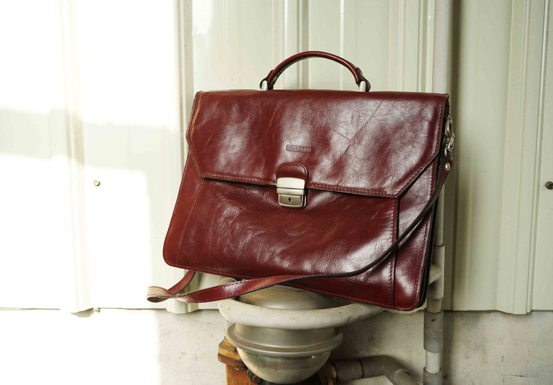 European Treasure Hunt Antique Bag-Italy Leather Burgundy Leather Briefcase