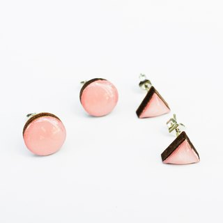 Tiny geometric triangle and circular wood earrings - Rose Gold