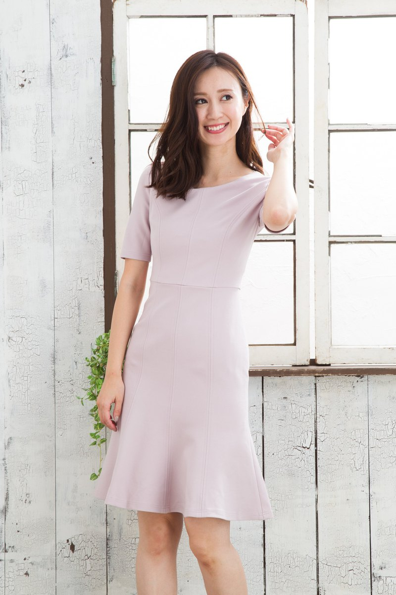 Women's half sleeve solid ponte dress in Mauve pink recommended for office