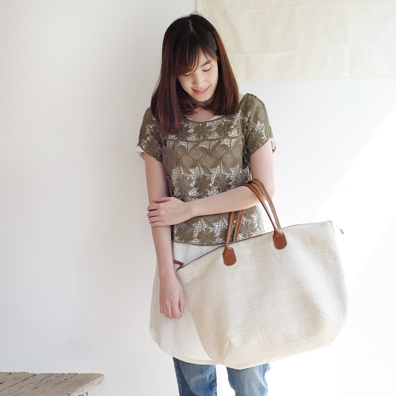 Oversize Sweet Journey Bags Handwoven Cotton Natural Color