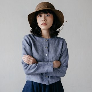 Long sleeves shirt with shell Buttons in Navy Chambray