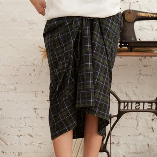 Lace-up half-length asymmetrical plaid A-word long skirt front short skirt - forest green plaid