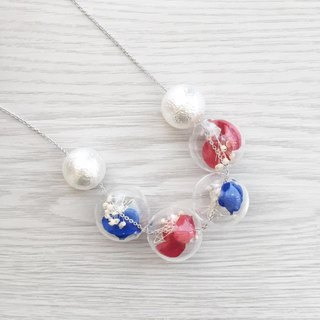 Navy Blue Red Preserved Flower Glass Ball Necklace Birthday Gift Bridesmaid gift