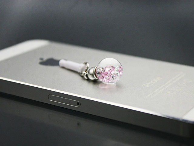 Bijou glass Ball strap or earphone jack - Sakura Color -