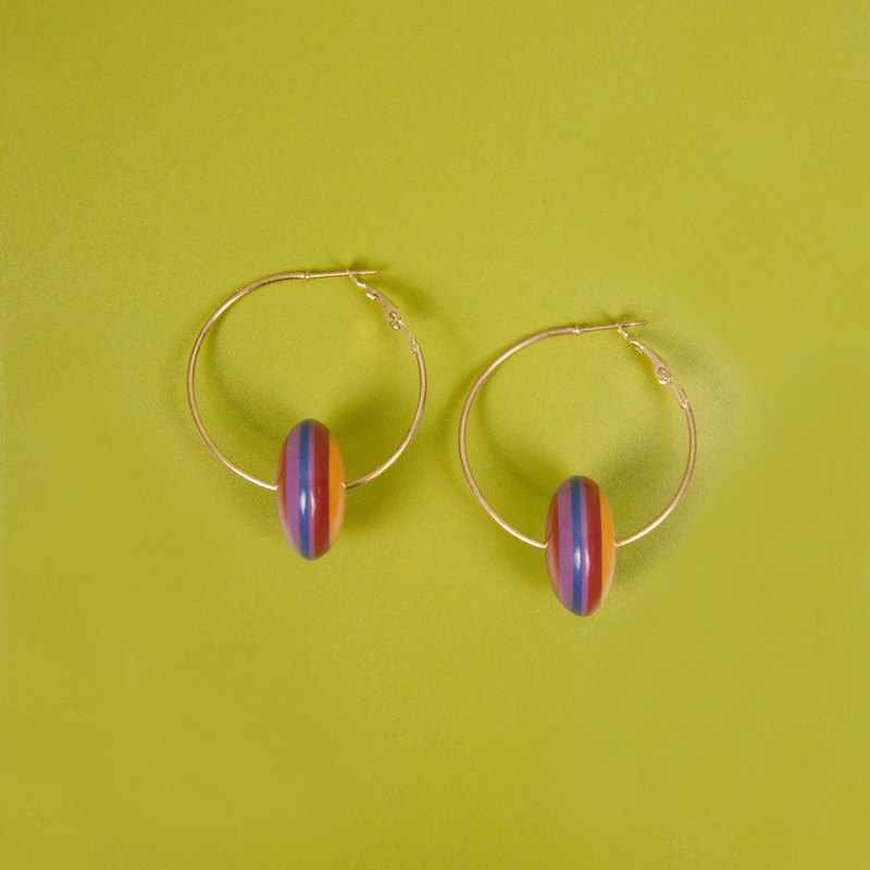 Violet and Orange Stripes Modern Round Earrings
