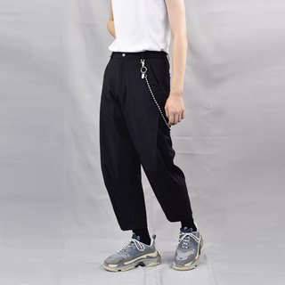 TRAN - Three-dimensional side pleated cropped trousers