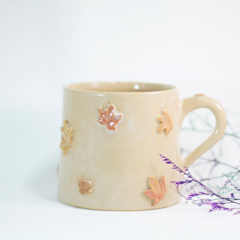 Embossed Maple Leaf Shaped Cup, Teacup, Mug, Cup, Coffee Cup - Approx. 350ml