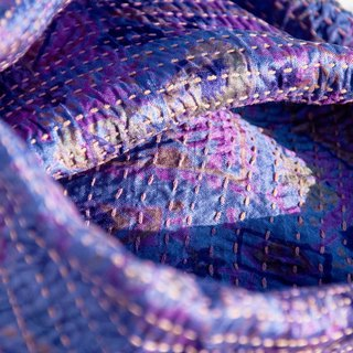 Valentine's Day gift birthday gift mothers day gift limited handmade hand-stitched saris scarves / embroidery scarves / silk embroidery scarves / hand-stitched sliver silk scarves / India silk embroidery scarves - 徜 徉 purple lavender forest wind