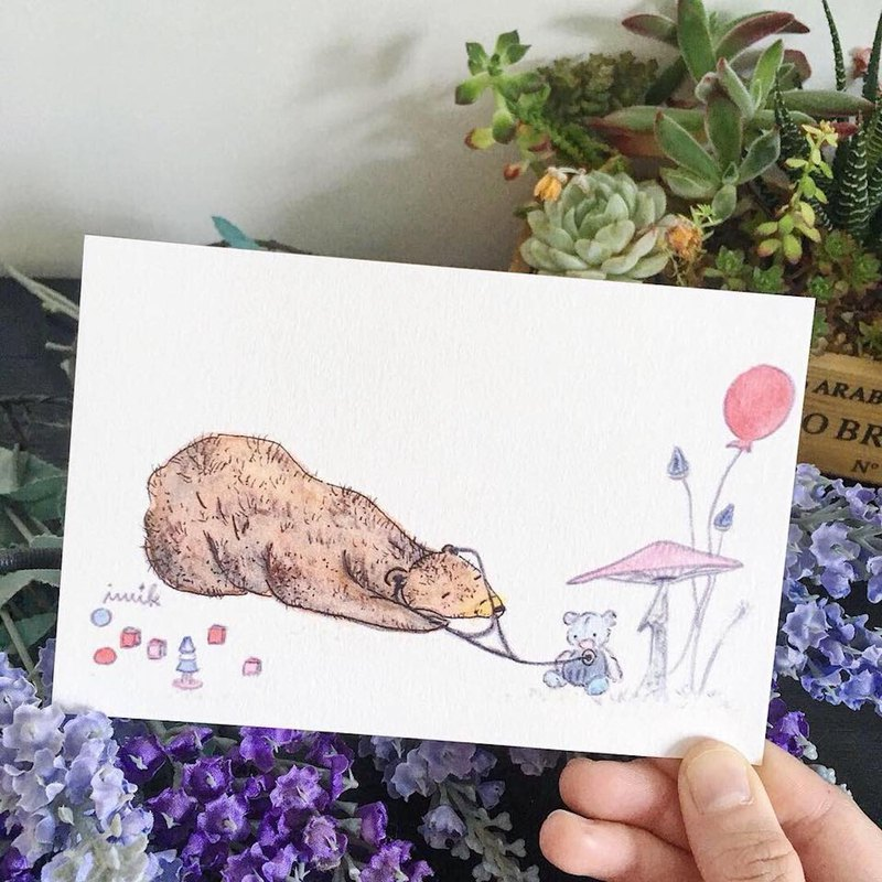 Hand-painted postcard - earpiece bear