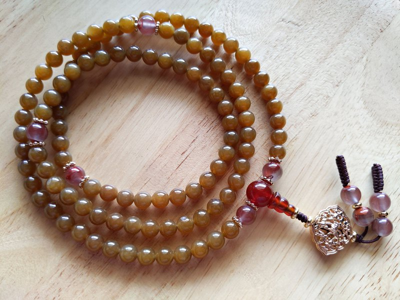 ORLI Jewelry Natural Wax Jade Sugar Jade 108 Rosary Hetian Jade Sugar Jade Buddha Beads South Red Agate