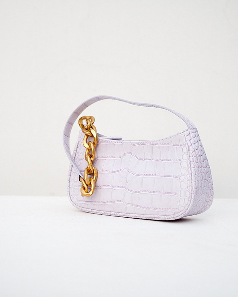 f2studio taro purple leather crocodile pattern single shoulder zipper flat baguette armpit portable female bag