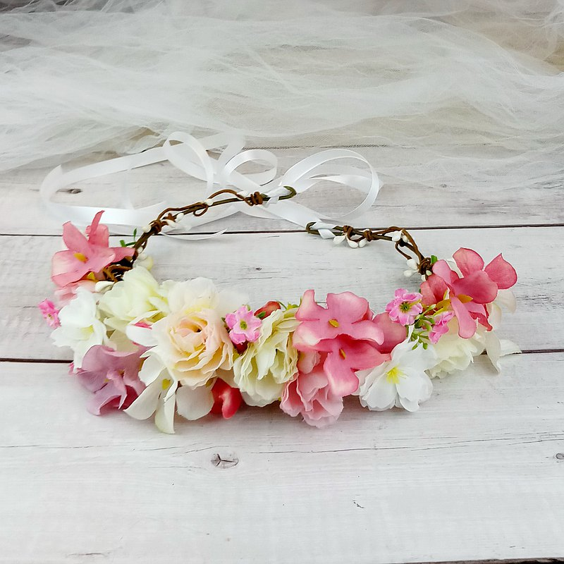 Flower crown, Rustic wedding crown, pink rose wreath, hair accessories C16