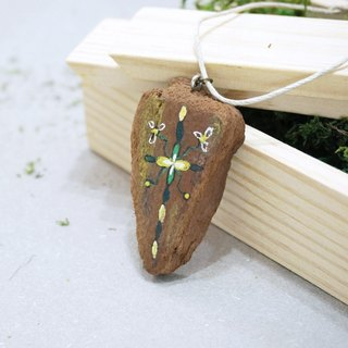 Upcycling Necklace, Natural, Wood piece, Free hand drawing, Zen drawing, Eco - green, yellow