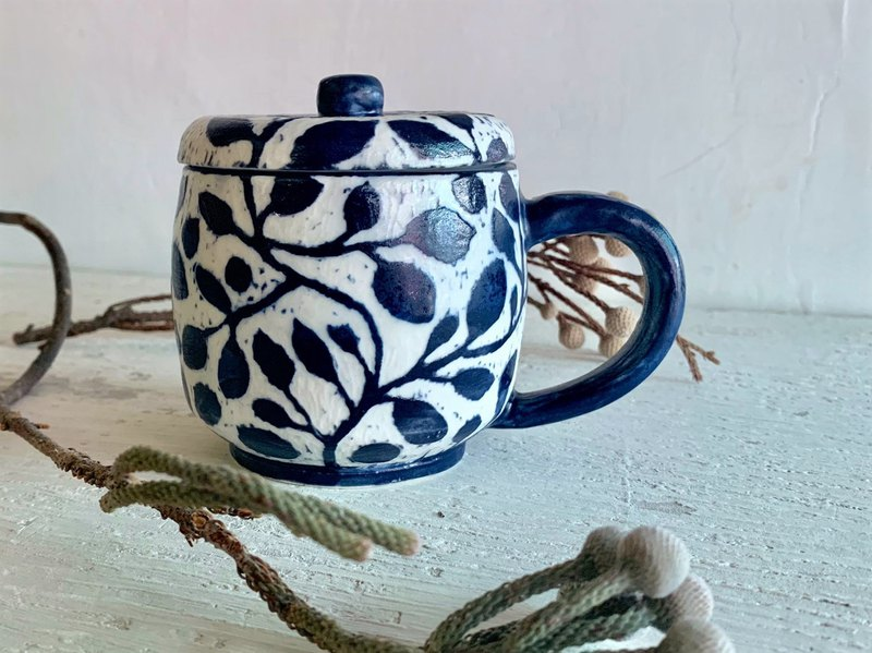 Open branch loose leaf coffee cup with lid _ pottery mug