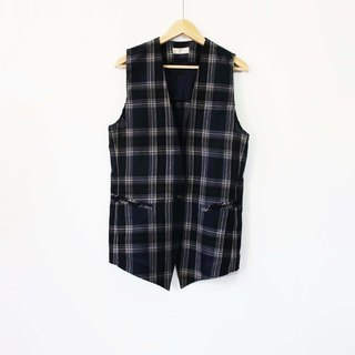 Wahr_ blue lattice thin material vest