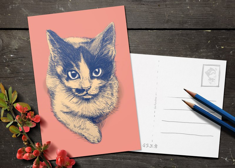 Postcard - Tri-color Cat (Flat version)