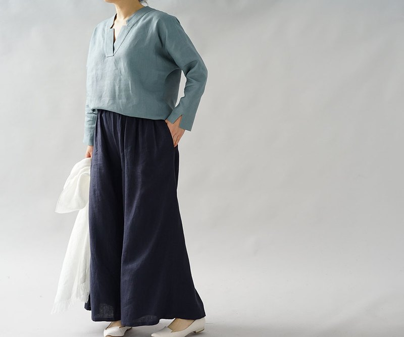 wafu  linen tunic / long sleeve / kimono collar / zen / tops / blue t28-1