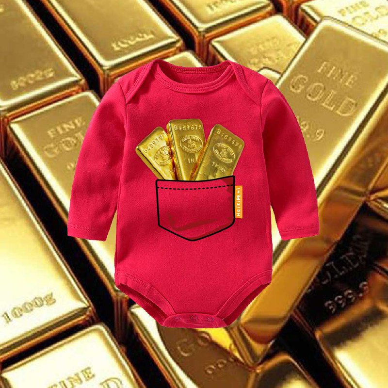 Gold Bar Full Bag Newborn Long Sleeve Fart Clothing-Red