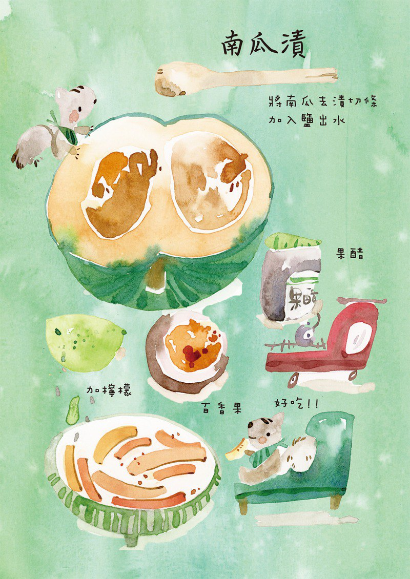 Pumpkin stains recipe watercolor postcard